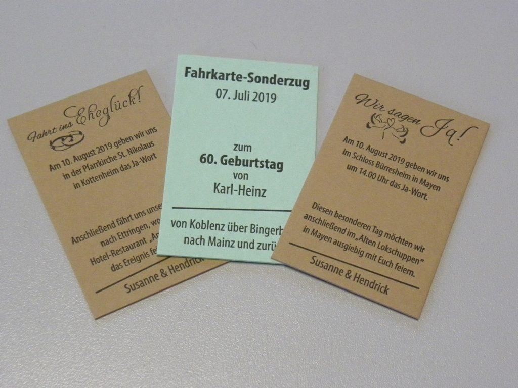Fahrkarte als Geburtstagseinladung